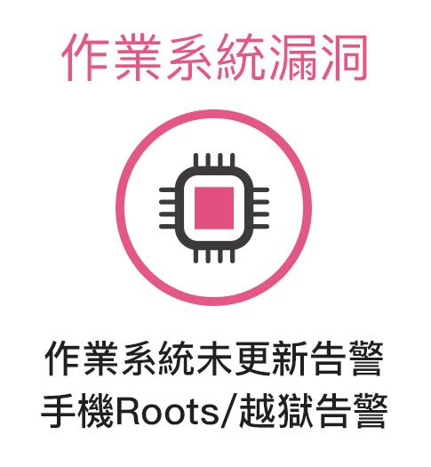 作業系統未更新告警 手機Roots/越獄告警